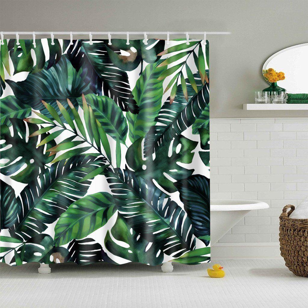 5grosse Polyester Digitaldruck Duschvorhang Badvorhang Blatter
