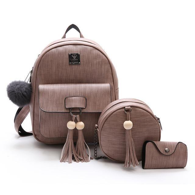 New Design Tassel Women Backpack PU Leather Backpack for Girls Female  School Shoulder Bag Vintage Beading acbbbcd7073b4
