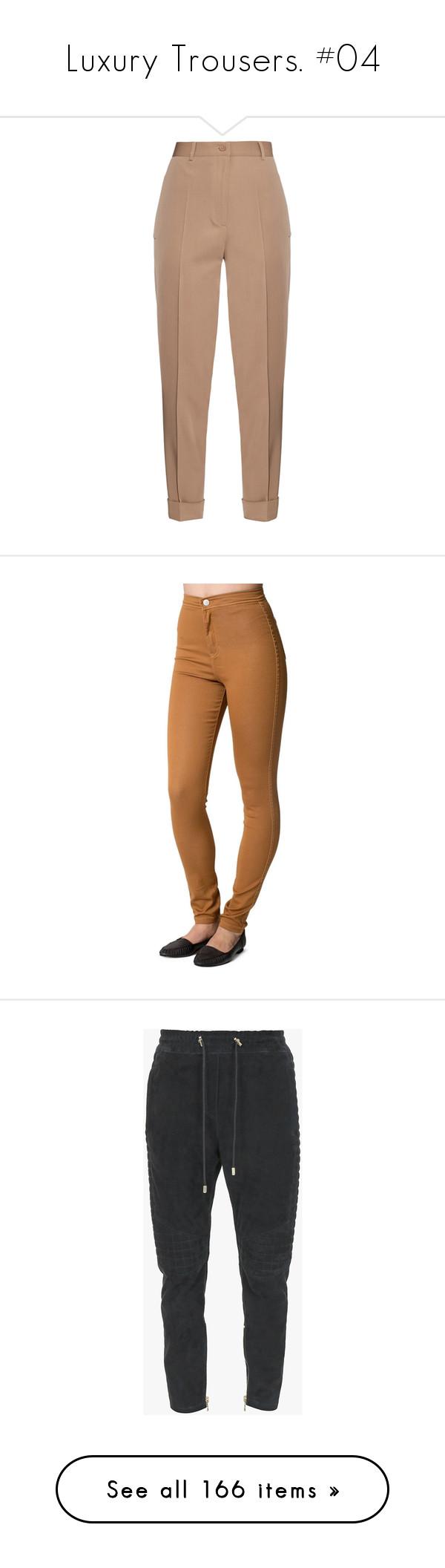 """Luxury Trousers. #04"" by alejandramalagon ❤ liked on Polyvore featuring pants, bottoms, trousers, bottega veneta, jeans, beige, tan pants, twill pants, highwaist pants and wool pants"