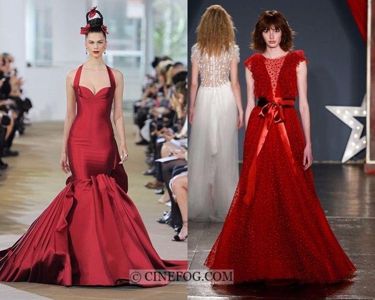Brautkleider Frühjahr-Sommer 2018 Modetrends: Rote Farbe ...