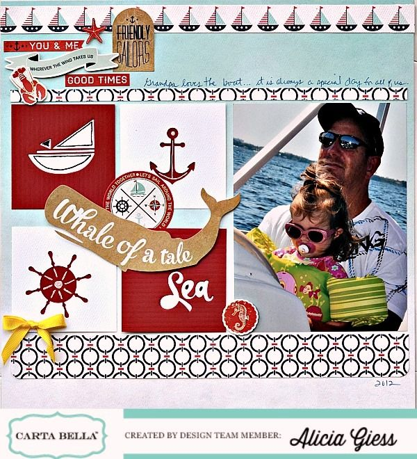 "Layout by Alicia Giess featuring Carta Bella's ""Ahoy There"" Collection and ""Sea, Ship, Anchor Designer Dies."" #cartabellapaper"