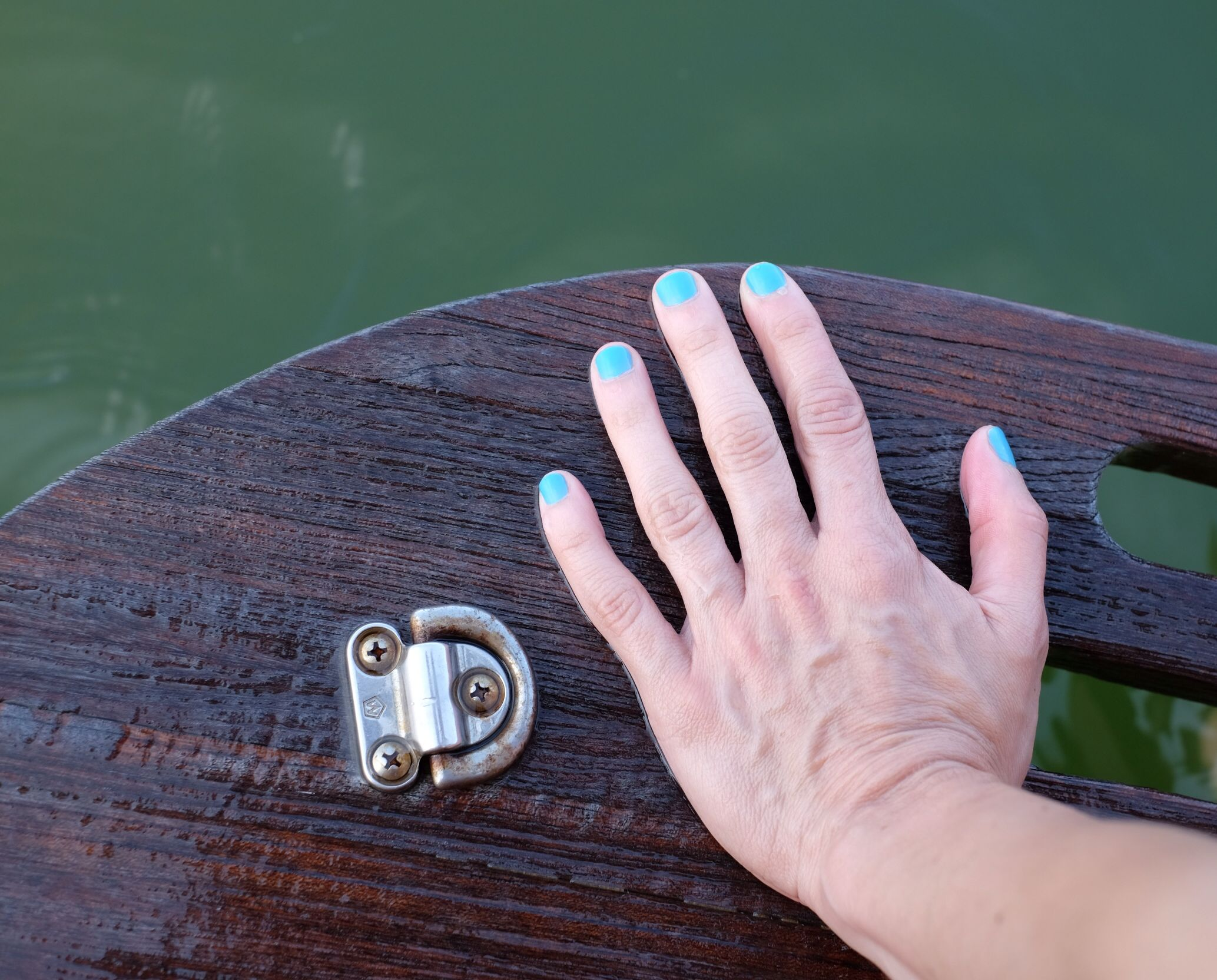 I'm Addicted by #essie relaxing by the #water wearing the perfect #nail #polish for the #summer