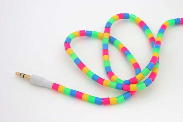 Perler beads on earbuds cord by Julia Marie