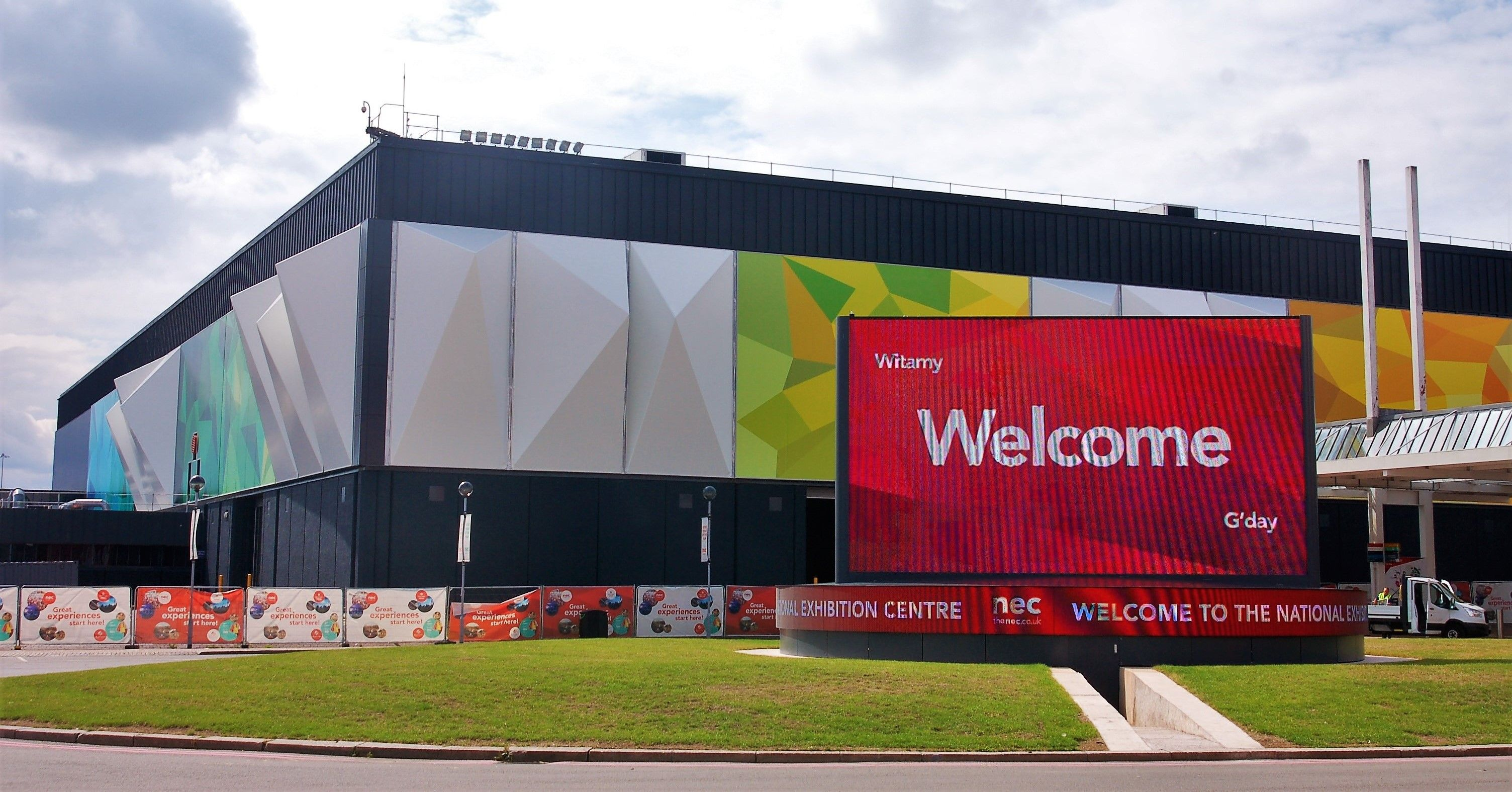 D Printing Exhibition Nec : Dimensional fabric facade and printed over cladding at the nec