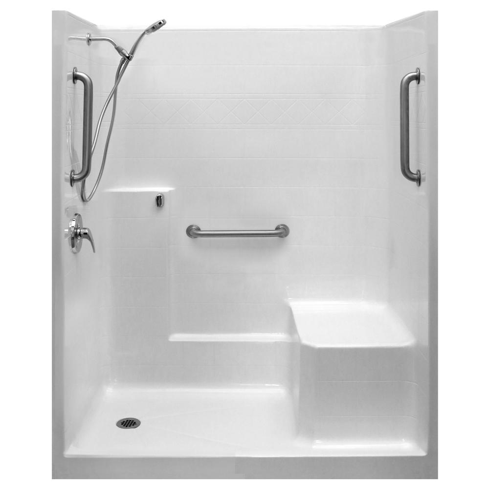 Ella Classic Sa 36 In X 60 In X 77 In 1 Piece Low Threshold Shower Stall In White Shower Kit Molded Seat Left Drain In 2019 Products Shower Kits Sho