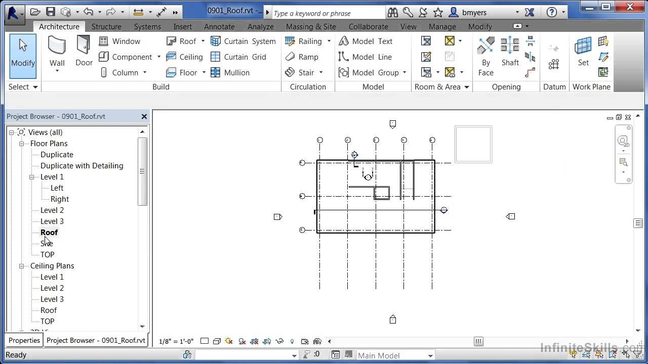 Watched Autodesk Revit Architecture 2014 Tutorial Roof With