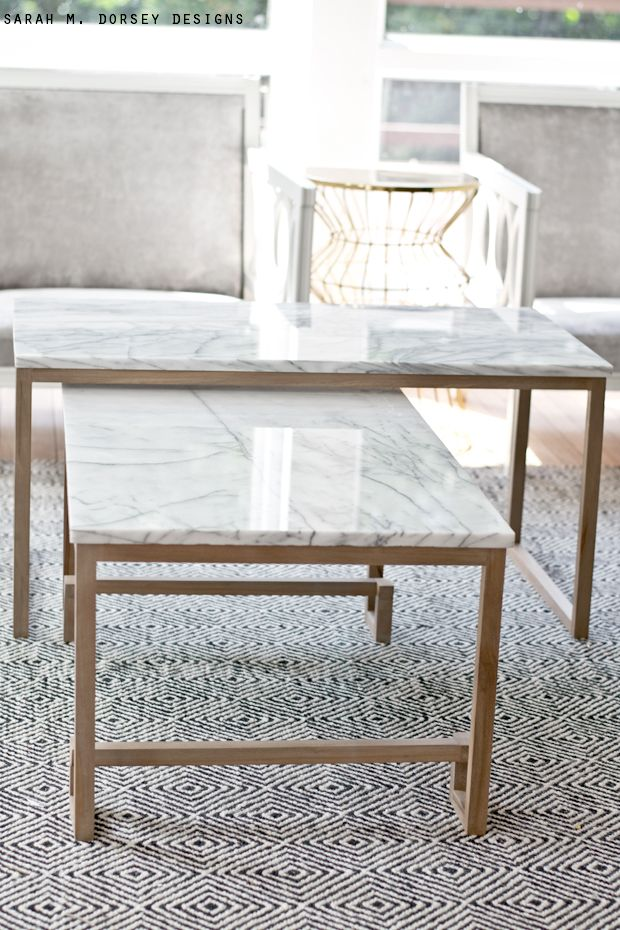 sarah m dorsey designs Marble Nesting Tables for the Living Room