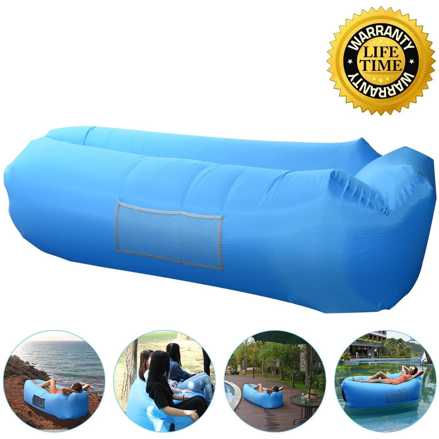 Anglink Outdoor Inflatable Lounger Couch Air Sofa Blow Up Lounge Chair With Carrying Bag For Travelling Inflatable Lounger Outdoor Inflatables Camping Chairs
