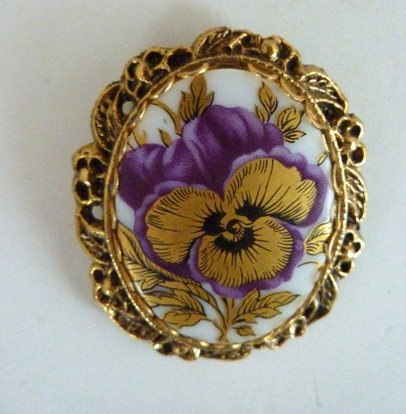 Victorian Revival Pansy Brooch or Pendant by BonniesVintageAttic, $24.95