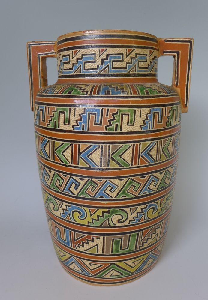 Vintage Mexican Tlaquepaque Petatillo Olla Vase Urn Attrib Balbino