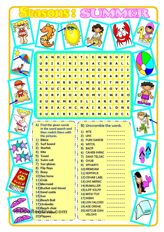 Summer | English worksheets | Pinterest