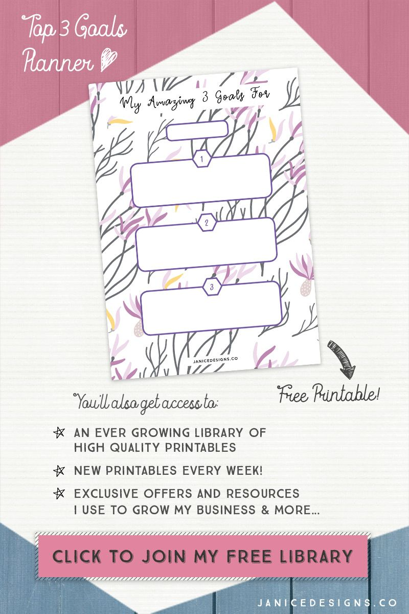 This Top 3 Goals printable planner was created using my
