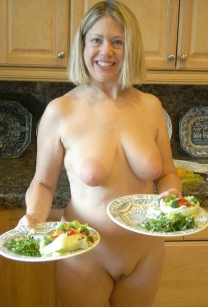 Milfs cooking with food