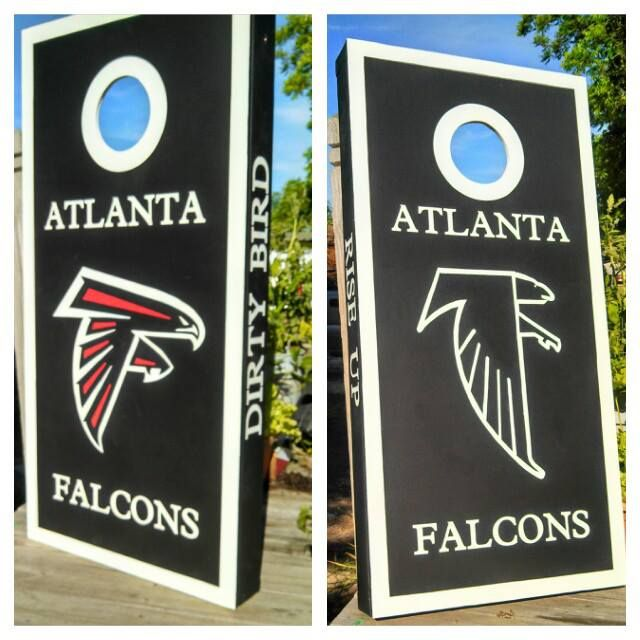 Custom Handpainted Falcons Cornhole Boards Hand Painted Artwork - Diy custom vinyl stickers