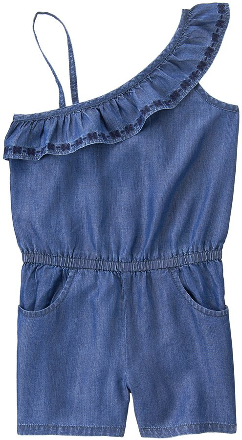 24c1332a84c3 Crazy 8 Blue Chambray Ruffle Romper - Girls