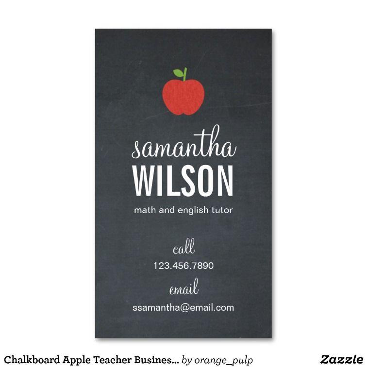 Chalkboard Apple Teacher Business Card | Teacher business cards ...