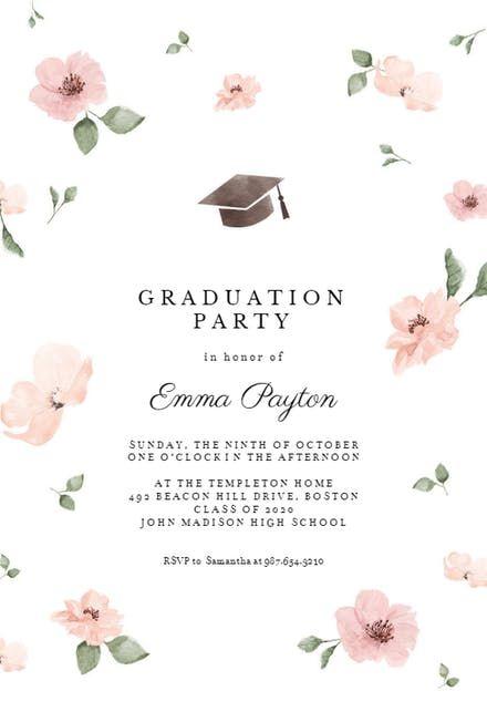 Photo of Cherry blossom – Graduation Party Invitation Template (Free) | Greetings Island