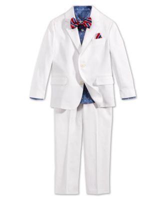 4b7625439 Nautica Little Boys' 4-Piece Solid Twill Suit Set - Suits & Dress Shirts -  Kids & Baby - Macy's
