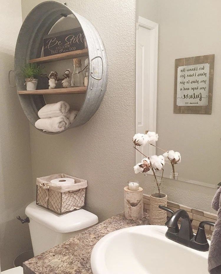Shelf idea for rustic home project bathroom pinterest for Bathroom decor farmhouse