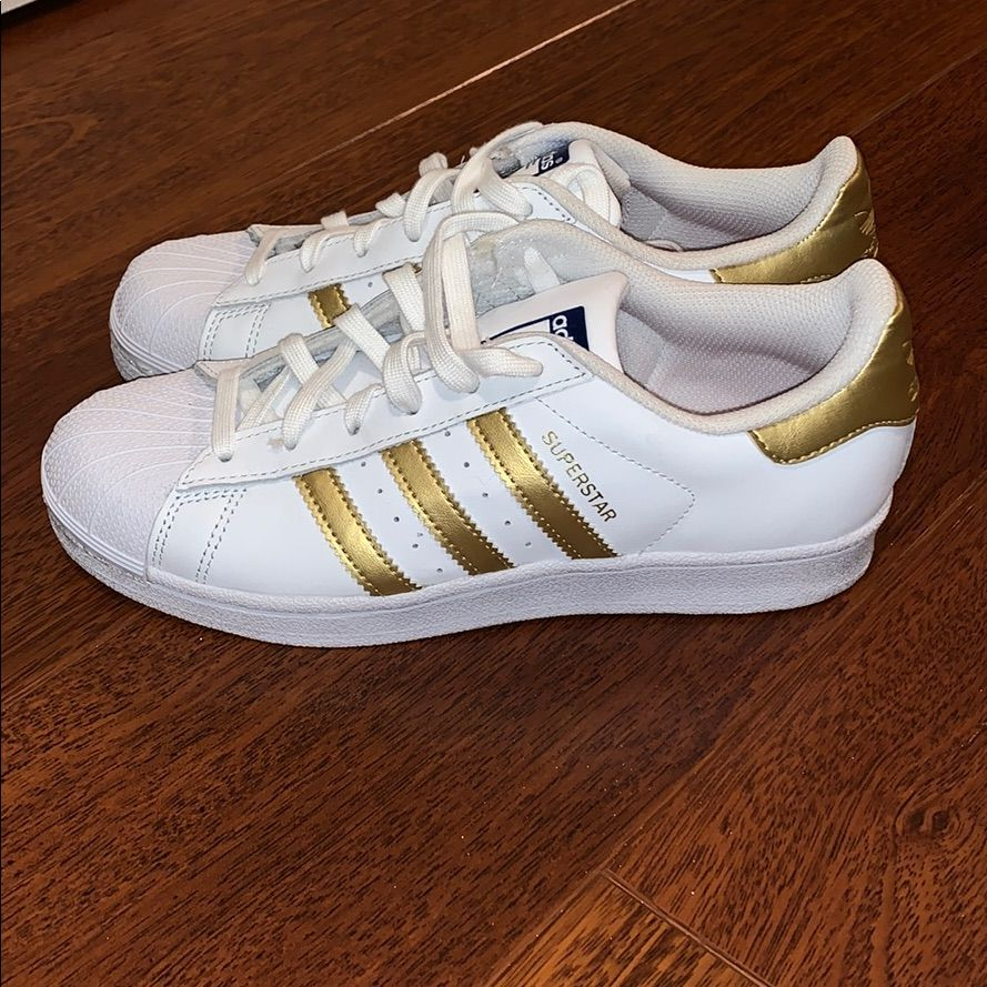 adidas Shoes   Adidas Superstar With Gold Stripes   Color
