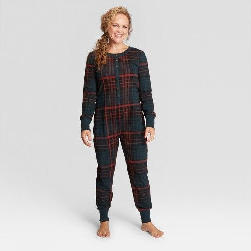 95be103c95 Woman s Plaid Holiday Pajamas Union Suit - Hearth   Hand™ with Magnolia    Target