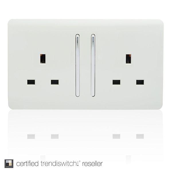Trendi White 2 Gang 13a Long Switched Socket Light Switches And Sockets Sockets Plug Socket