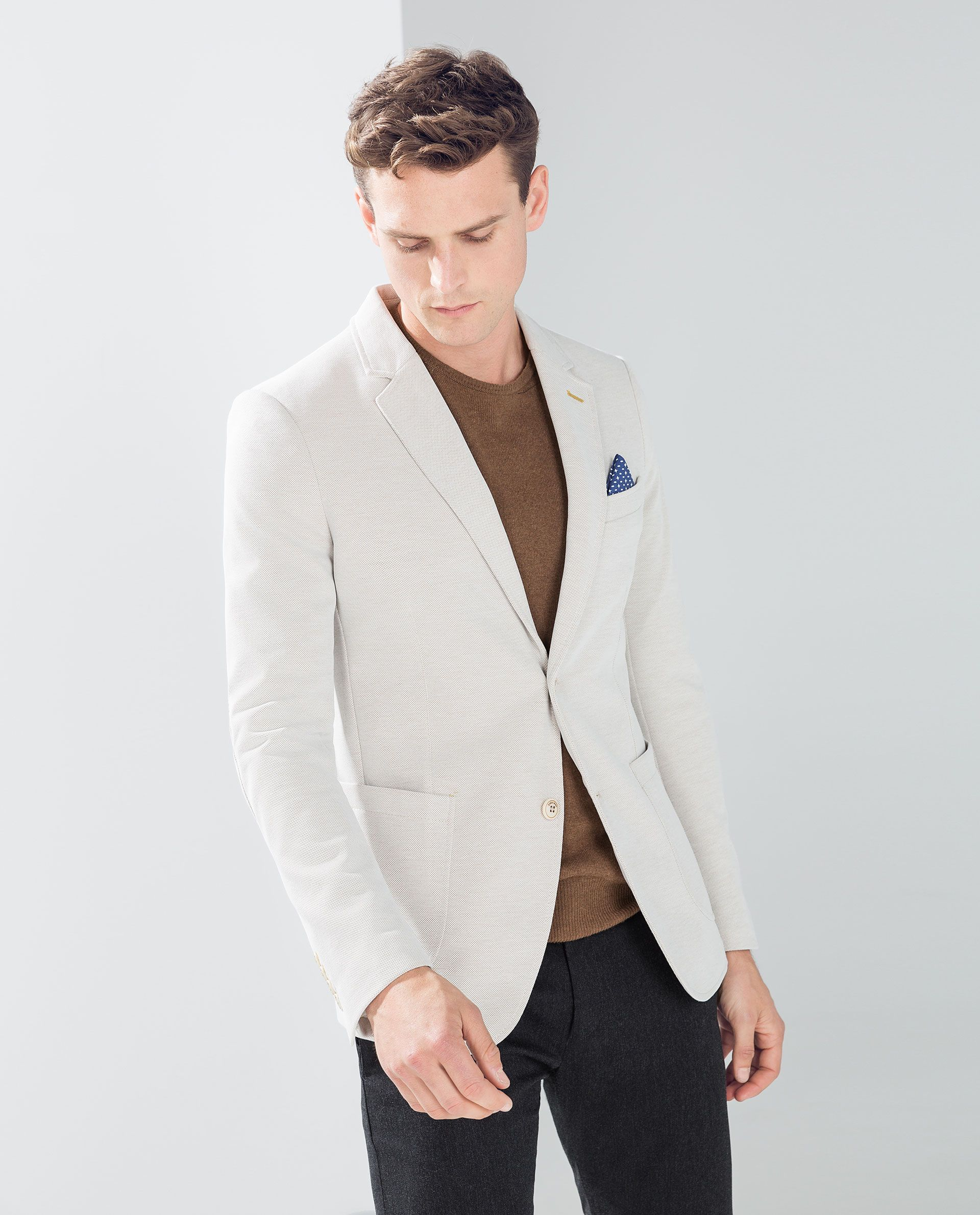 51037a48 Beige Piqué Blazer with Elbow Patches from Zara | jackets | Blue ...