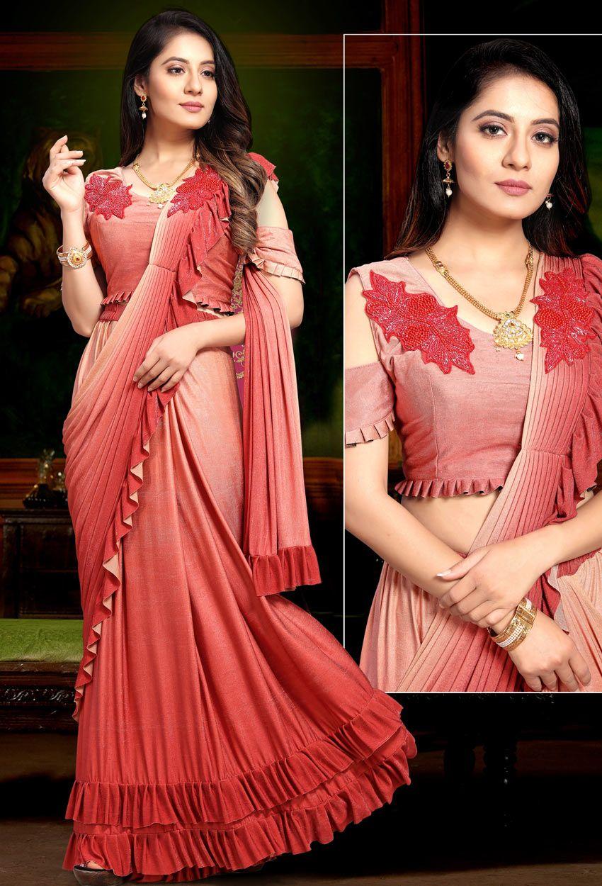 Red Georgette Designer Fancy Saree in 2020 | Saree designs, Lehenga saree, Lehenga style saree