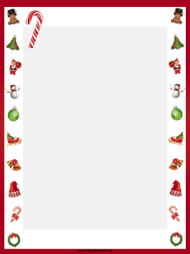 This Free Printable Winter Holiday Border Features Candy