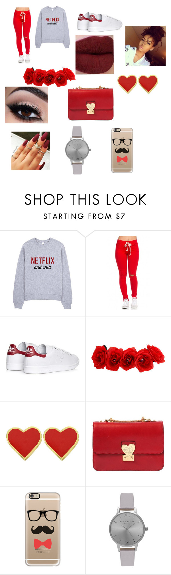 """Netflix"" by goofystar ❤ liked on Polyvore featuring adidas, Valentino, Casetify and Olivia Burton"