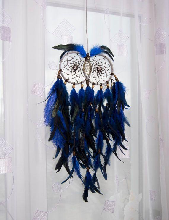 Cool Large Owl Dream Catcher Home Decor Accessories Unique Design Handmade  Owl Dreamcatcher Wall Decor Blue