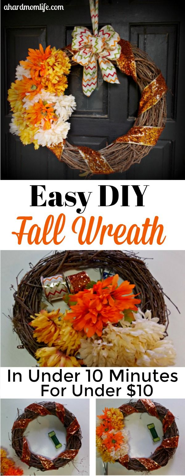 Easy diy fall wreath wreaths decoration and easy easy diy fall wreath in under 10 minutes for under 10 izmirmasajfo Image collections
