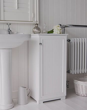 side view of the white freestanding bathroom cabinet | HOME ...