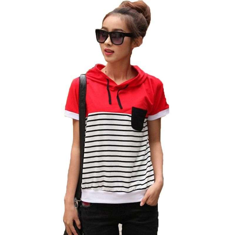New arrival Cotton striped t-shirt women short sleeve hooded Causal t shirts Women Summer. Item Type: TopsTops Type: TeesGender: WomenModel Number: 12472134Decoration: PocketsBrand Name: JOOBOXStyle: CasualPattern Type: StripedCollar: HoodedFabric Type: BroadclothMaterial: Cotton,PolyesterSleeve Length: ShortClothing Length: RegularSleeve Style: RegularColor Style: Natural Color  size Cross Shoulder(cm) Chest Width(cm) Body Length(cm) Sleeve...