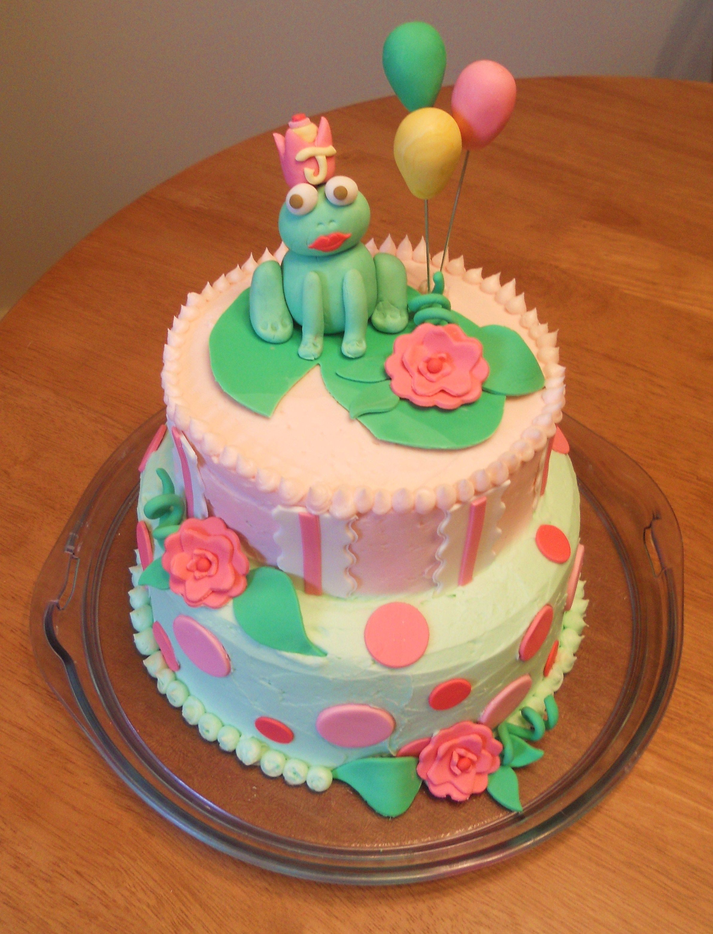 Frog On A Lily Pad With Birthday Balloons Cake Flavor Almond And Raspberry