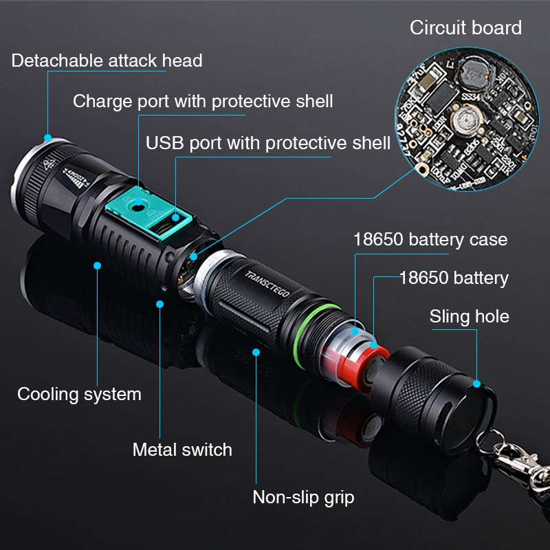 Long Range Rechargeable Flashlight 2000 Lumens Torch High Power LED Police Army