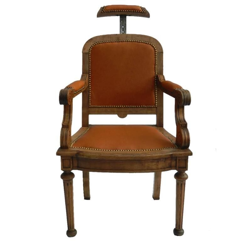 19th Century French Barbers Chair Leather Desk Chair Reclining Armchair