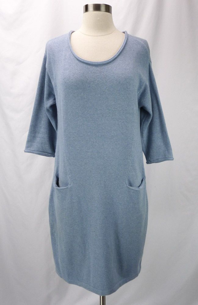 Pure Jill J. Jill Blue Cotton/Cashmere Tunic Sweater Dress Big ...