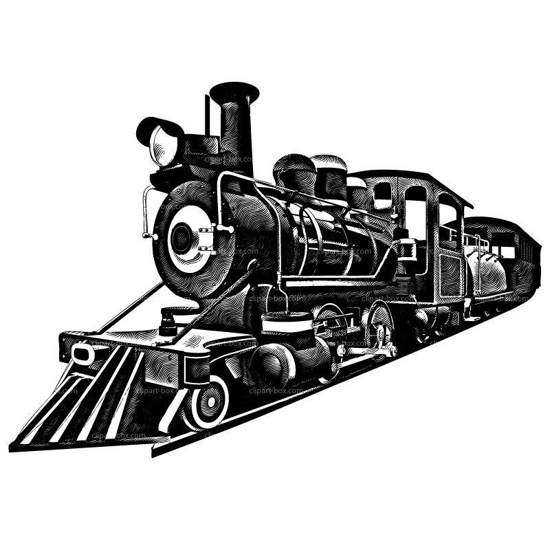 Black and White Train CLIPART RAILROAD TRAIN
