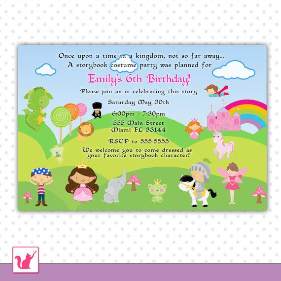 Pirate Fairy Princess Birthday Invitation Girl Costume Party – Princess and Pirate Birthday Invitations