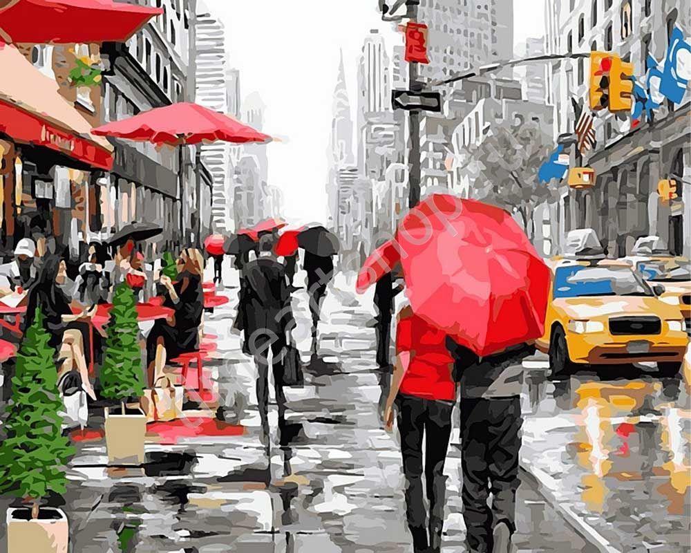 Прогулка по Нью-Йорку, картины раскраски по номерам ...