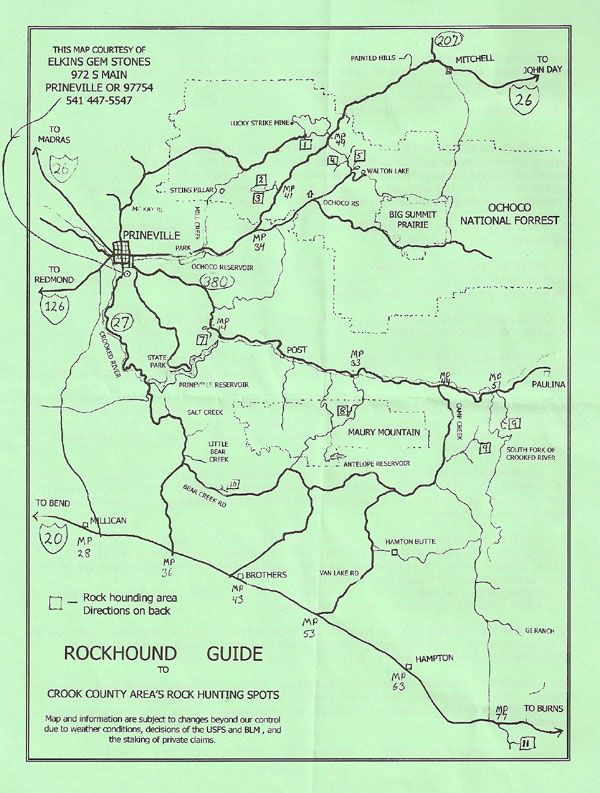 Rockhounding Oregon Map Rockhounding map, prineville, oregon | Road Trip | Gem hunt