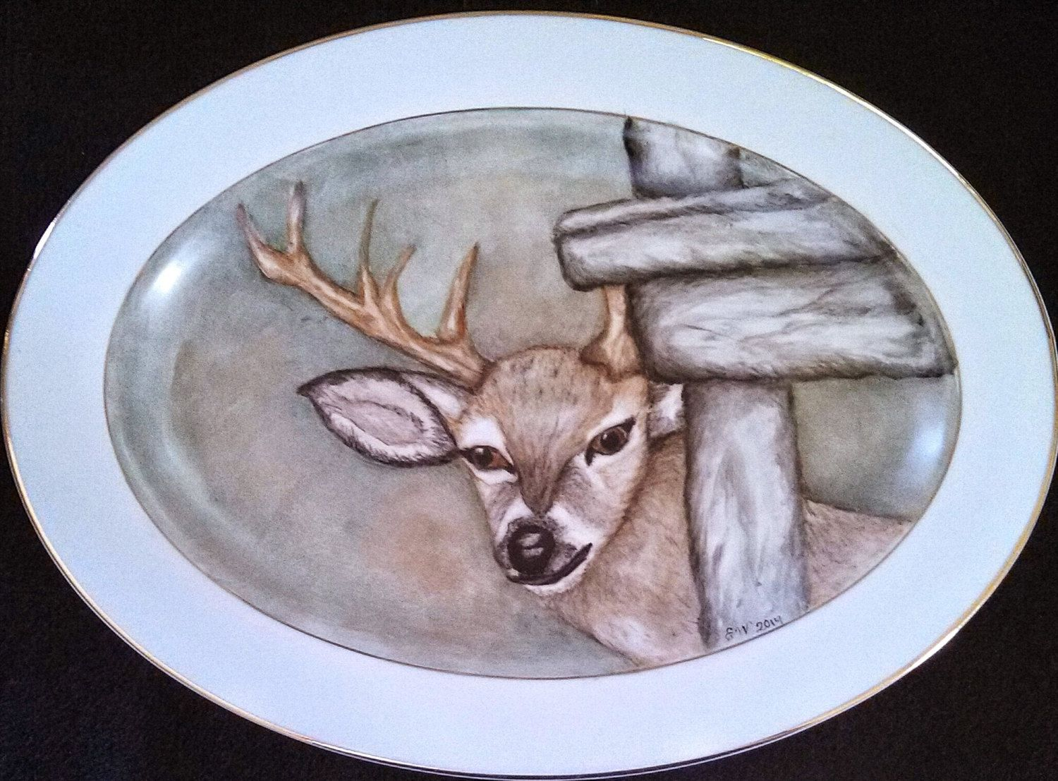 Hand Painted Deer Platter by ekwpaintedtreasure on Etsy