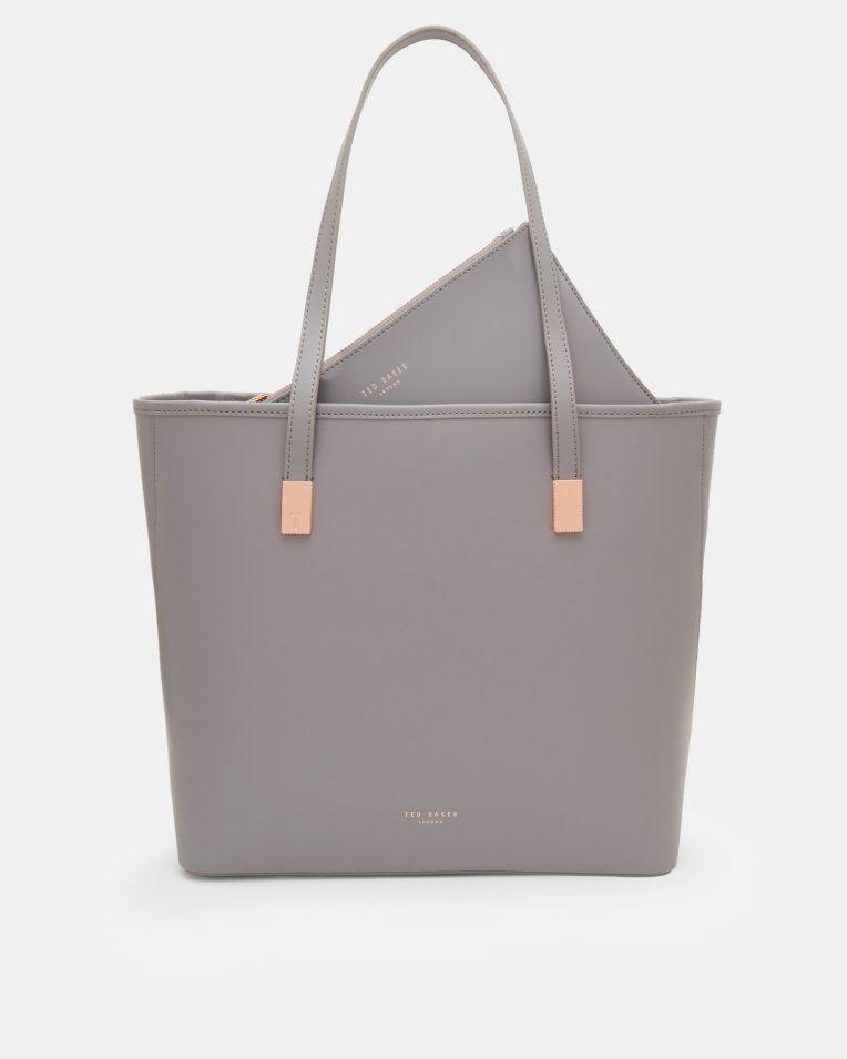 591f7489e2407 Leather large shopper bag - Gray