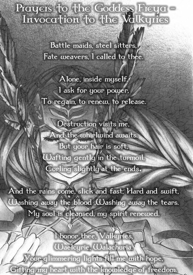 Prayer To Freya Queen Of The Valkyries Norse Goddess