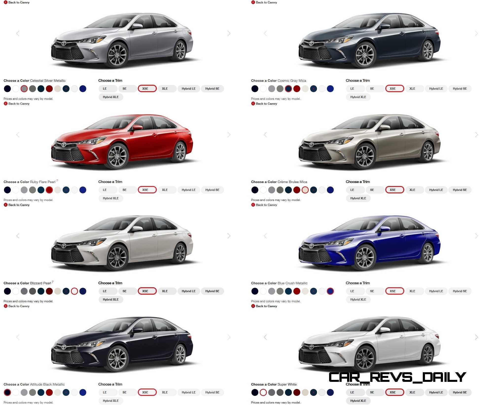2017 Toyota Camry Colors And Trims Visual Ers Guide Hot Car