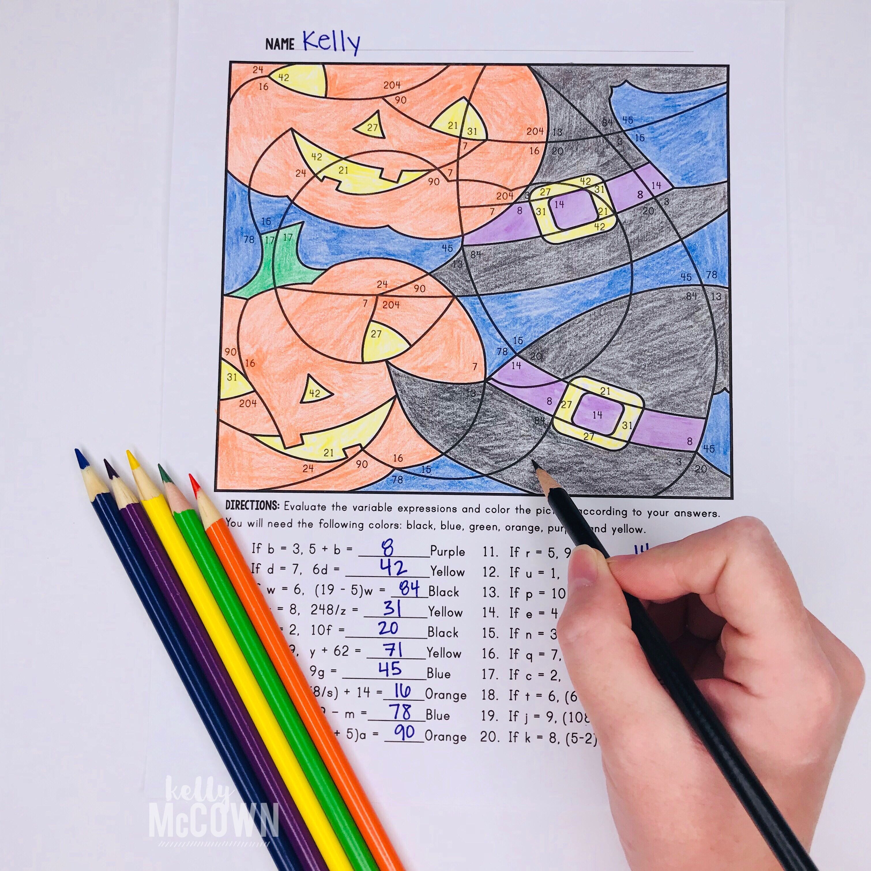 medium resolution of Halloween Math Coloring   Equation Color by Number   Math coloring