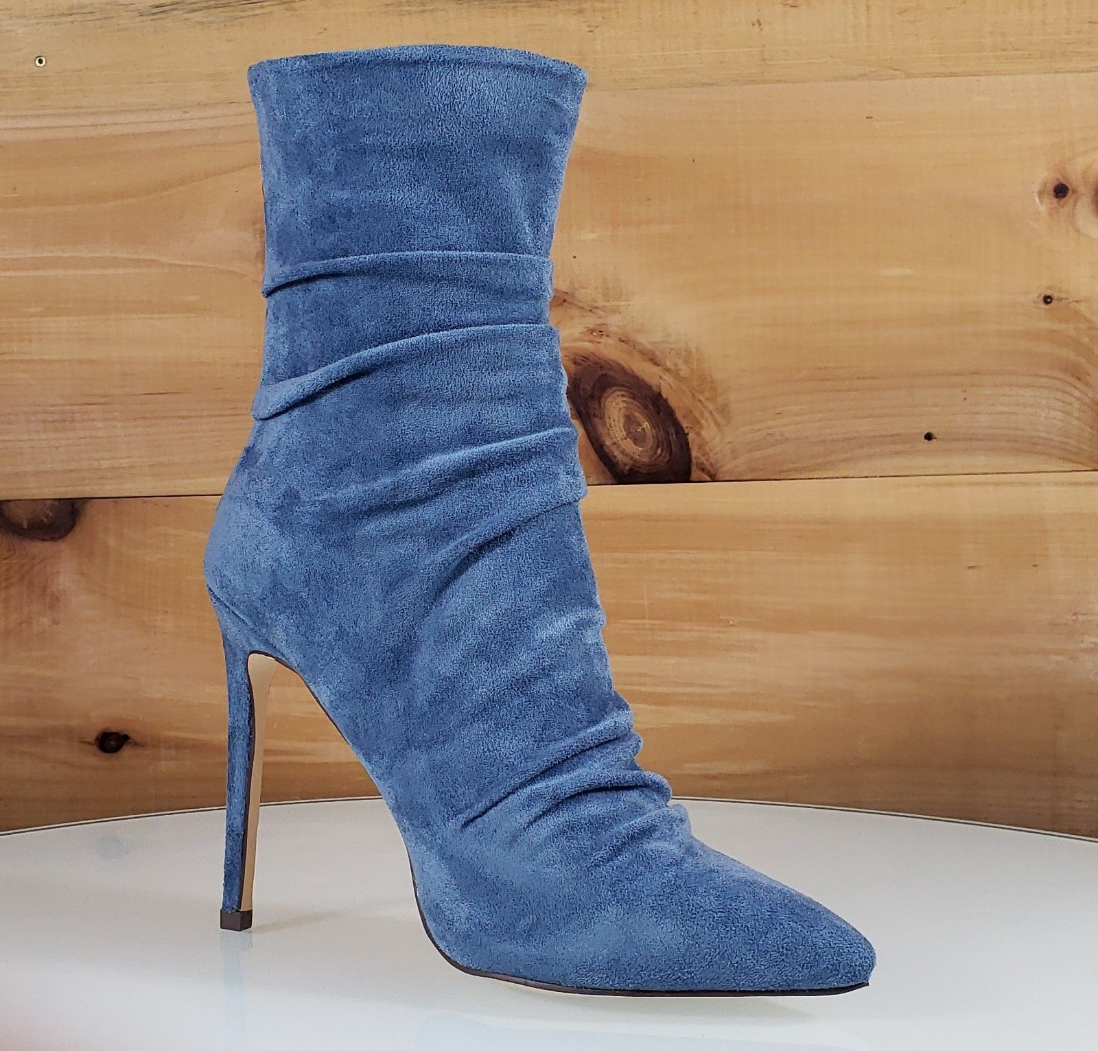 c27f9f1a1898 So Me Oda Blue Vegan Suede Scrunch Top High Heel Ankle Boots in 2019 ...