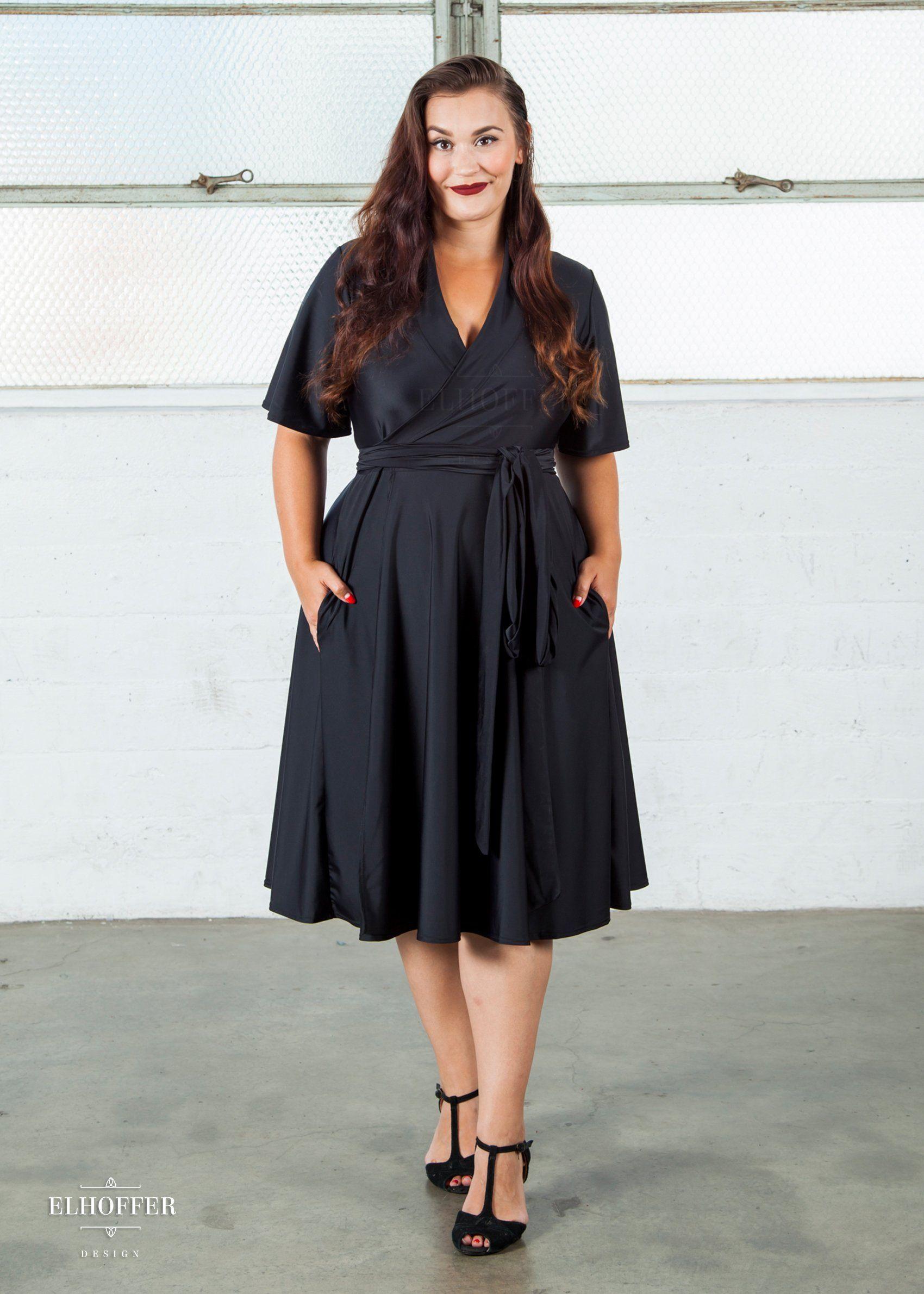 Flutter sleeve midi wrap dress elhoffer design with