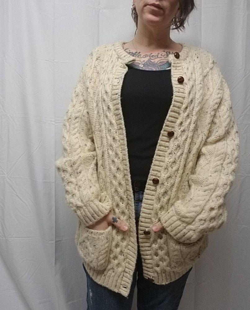 Thomas Keeling 100 Wool Irish Aran Fisherman Sweater Cardigan